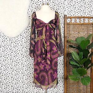 Betsey Johnson   Silk Vintage Paisley Midi Dress 8
